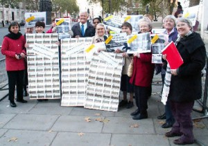 Pax Christi members with Bruce Kent (center) at Downing Street No-Wall in Palestine vigil