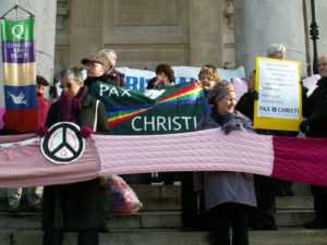 Pax Christi on steps of St Martin-in-the-Fields. January 2015