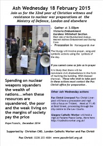 Ash Wednesday Witness at Ministry of Defence @ Around area of Ministry of Defence  | London | United Kingdom