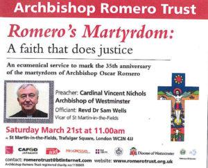 Romero's Martyrdom: Ecumenical Service @ St Martin- in- the- Fields | London | United Kingdom
