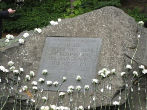 Flowers remembering 70 Conscientious Objectors
