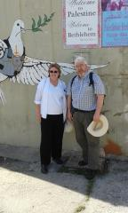 Ellen Teague and Chris Cole at the Separation Wall, Bethlehem
