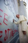 Pope Francis prays for peace at separation wall, Bethlehem 2014