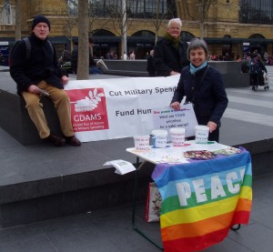 Peter McNamara, Bruce Kent and Pat Gaffney of Pax Christi at stall at Kings Cross, London