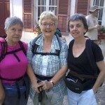 Patricia Stoat, Anne Dodd and Pat Gaffney setting off in Auxerre