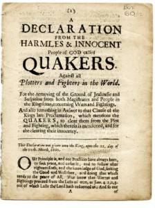 Quaker Declaration of 1660 ©Religious Society of Friends (Quakers) in Britain