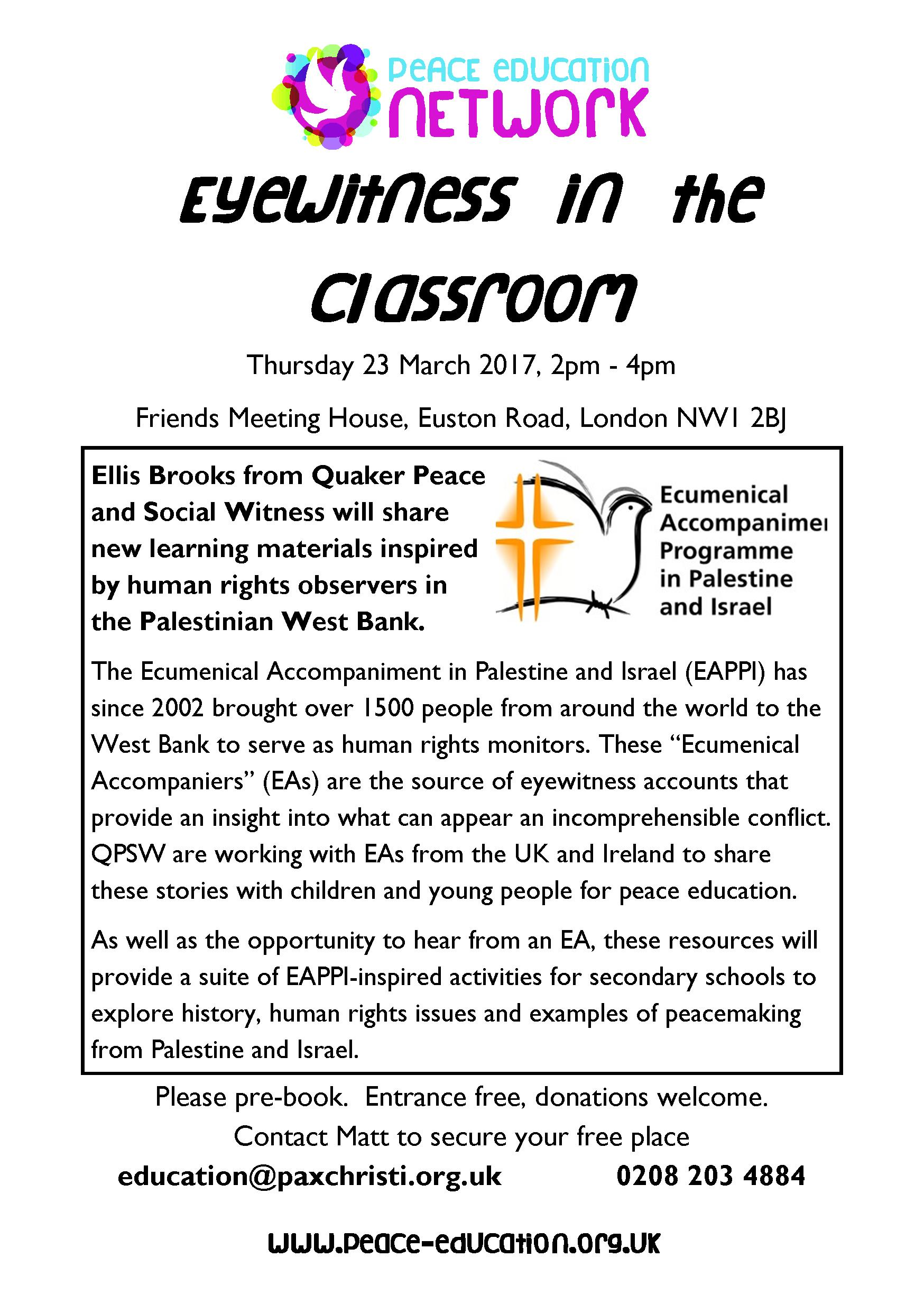 Workshop Flyer - March 2017 - Eyewitness in the Classroom