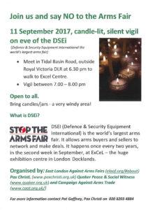 Silent Vigil:Stop the Arms Fair , London ExCeL @ London Excel Centre | England | United Kingdom