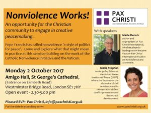 Nonviolence Works, London event @ Amigo Hall, St George's Cathedral   England   United Kingdom