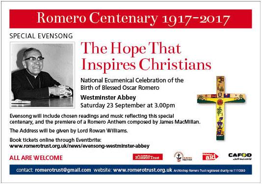Romero centenary ad 89.6x62.9mm[116918]