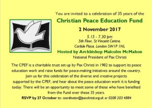 Celebrating 35 years of Christian Peace Education Fund @ St Vincent Centre | England | United Kingdom