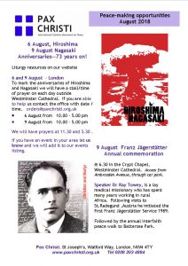 Hiroshima and Nagasaki Commemorations @ Westminster Cathedral Piazza | England | United Kingdom
