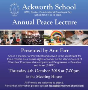 Annual Peace Lecture, Ackworth School, Pontefract @ Meeting House | England | United Kingdom