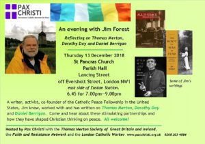 An evening with Jim Forest: reflections on Thomas Merton, Dorothy Day and Daniel Berrigan @ St Pancras Church Hall | England | United Kingdom