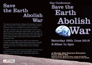 Save the Earth Abolish War Conference @ Mander Hall National Education Union HQ