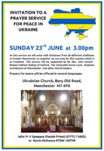 Manchester Service for Peace in Ukraine @ Ukrainian Church