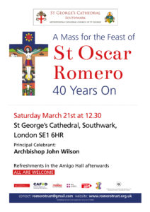 Cancelled: Feast of St Oscar Romero: Mass @ St George's Cathedral