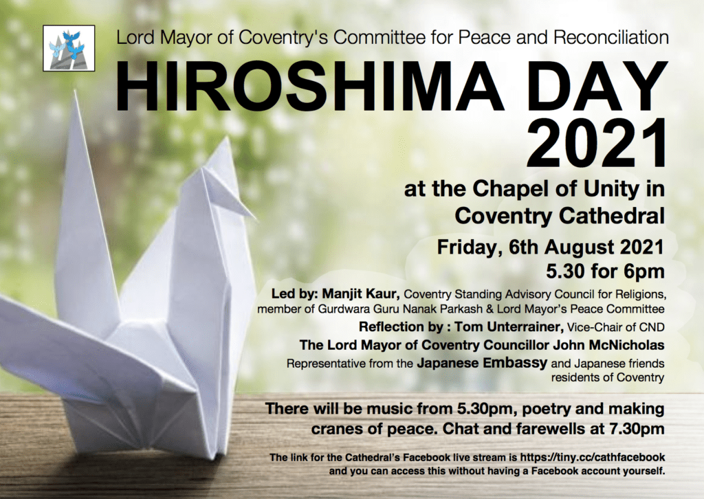 Hiroshima Day Coventry @ Coventry Cathedral and online